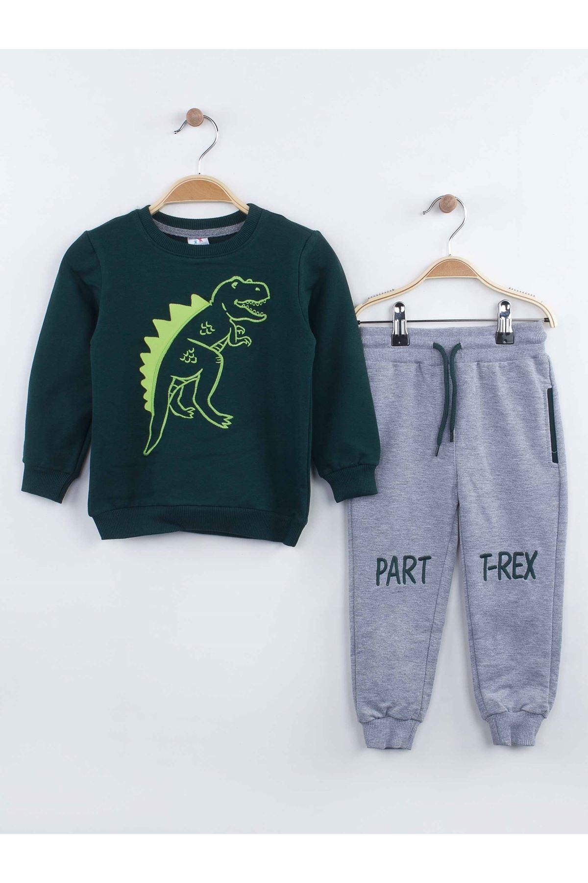 Green gray boys tracksuit set bottom sweatpants sweat top 2 piece cotton seasonal suits