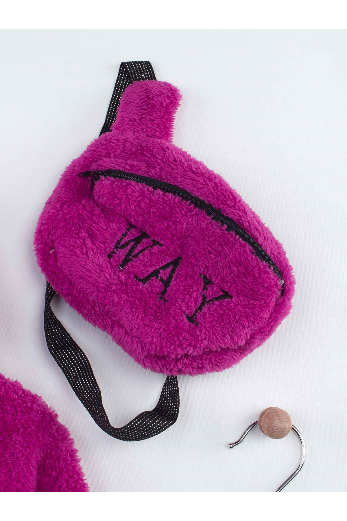 Purple Winter Plush Bag Hooded Female Child The Tights suit
