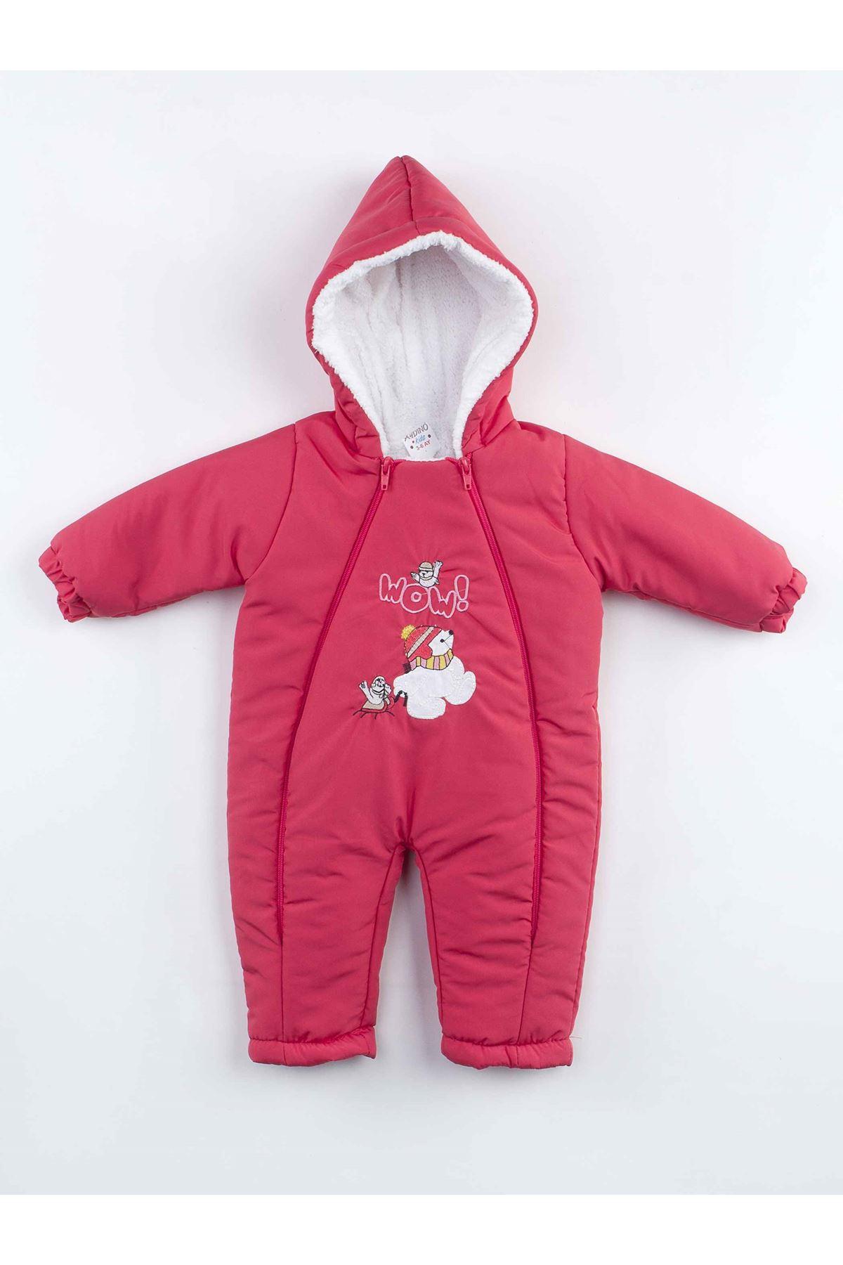 Grenadine red Double Zipper Baby Girl Cosmonaut Jumpsuit