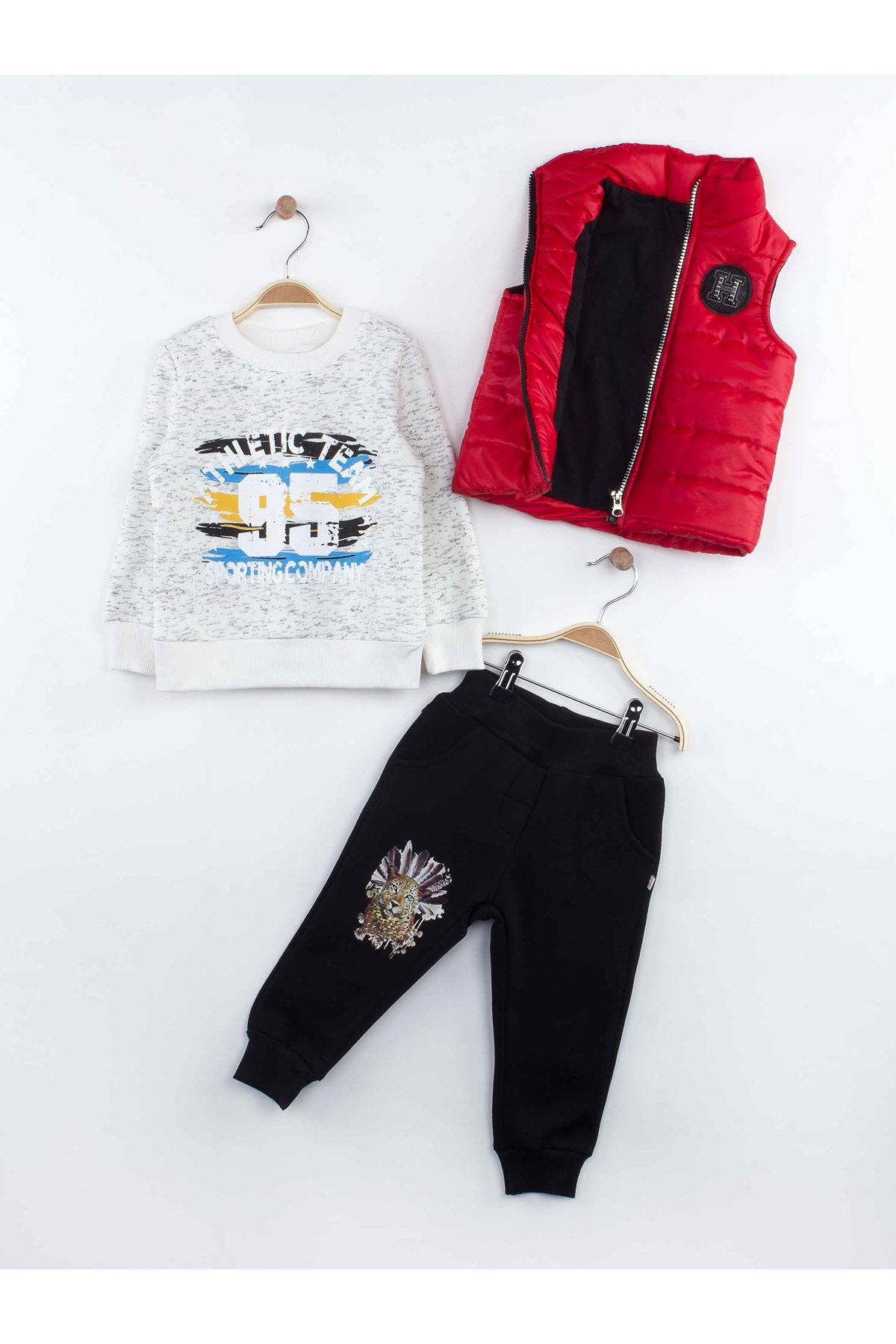 Red boy 3 piece suit sweatpants sweat puffer vest model style seasonal cotton casual sports daily tracksuit set model