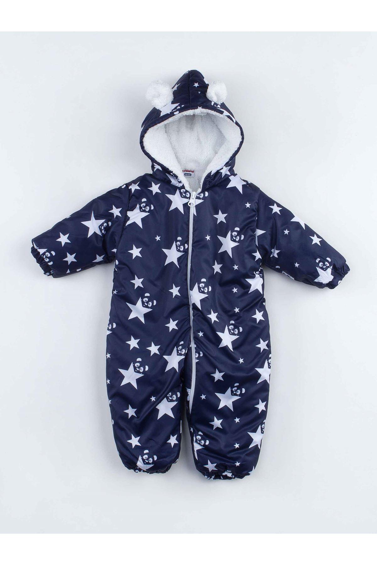 Lacivert Yıldızlı Erkek Bebek Kozmonot Tulum