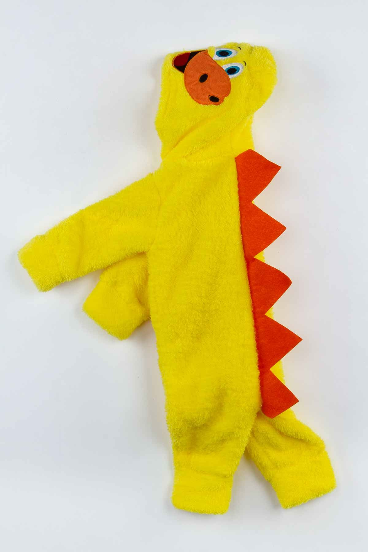 Yellow Plush Dinosaur Figure Baby Boy Rompers