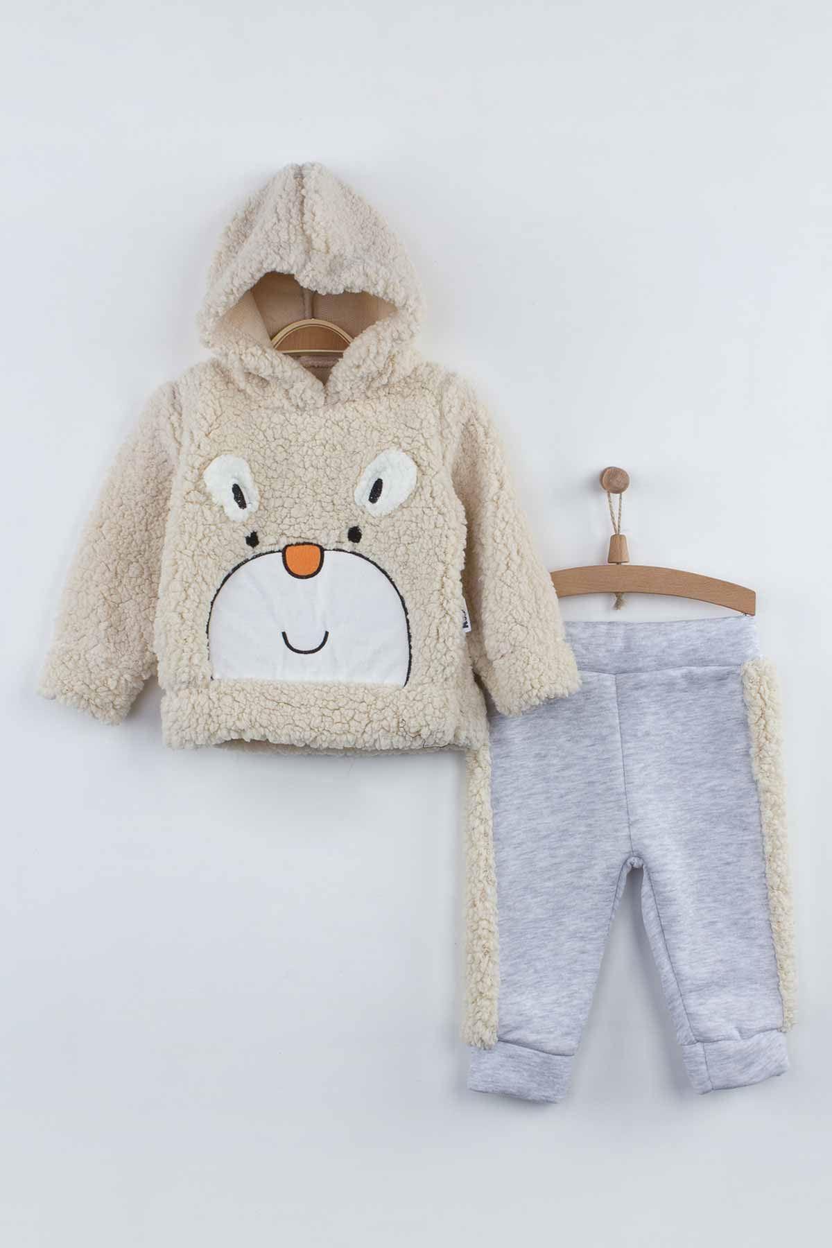 Cream Winter Plush Hooded Baby Boy 2 li Suit