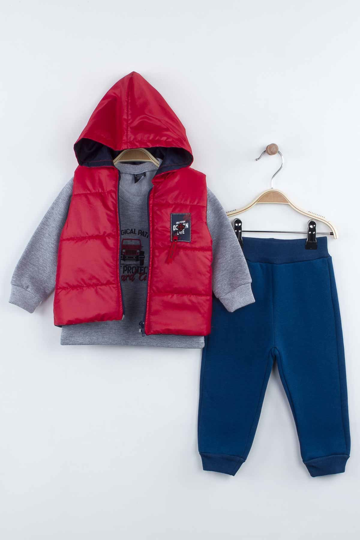 Red Size 3-piece suit bottom tracksuit top sweat hooded inflatable vest cotton casual daily seasonal model