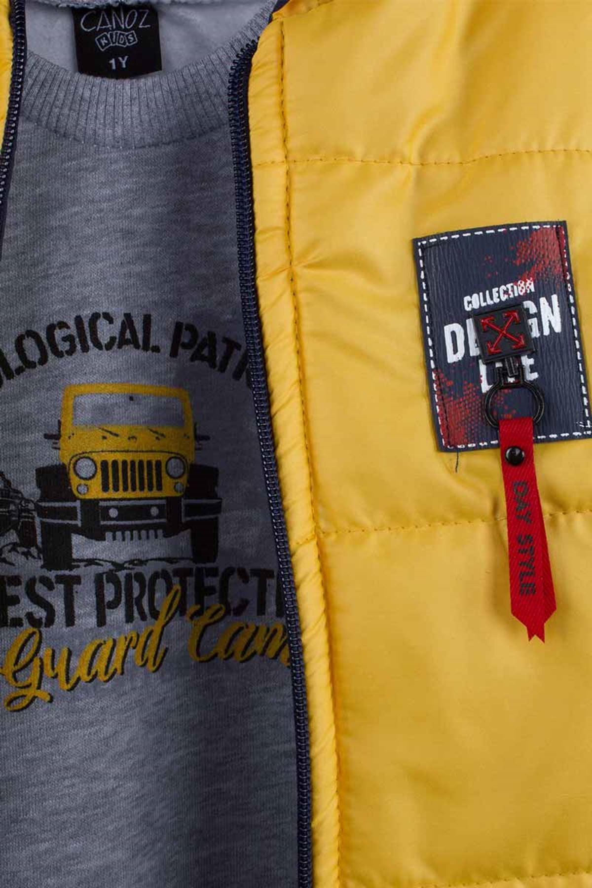 Sarı Kışlık Şişme Yelekli Kapüşonlu Erkek Çocuk 3 lü Takım