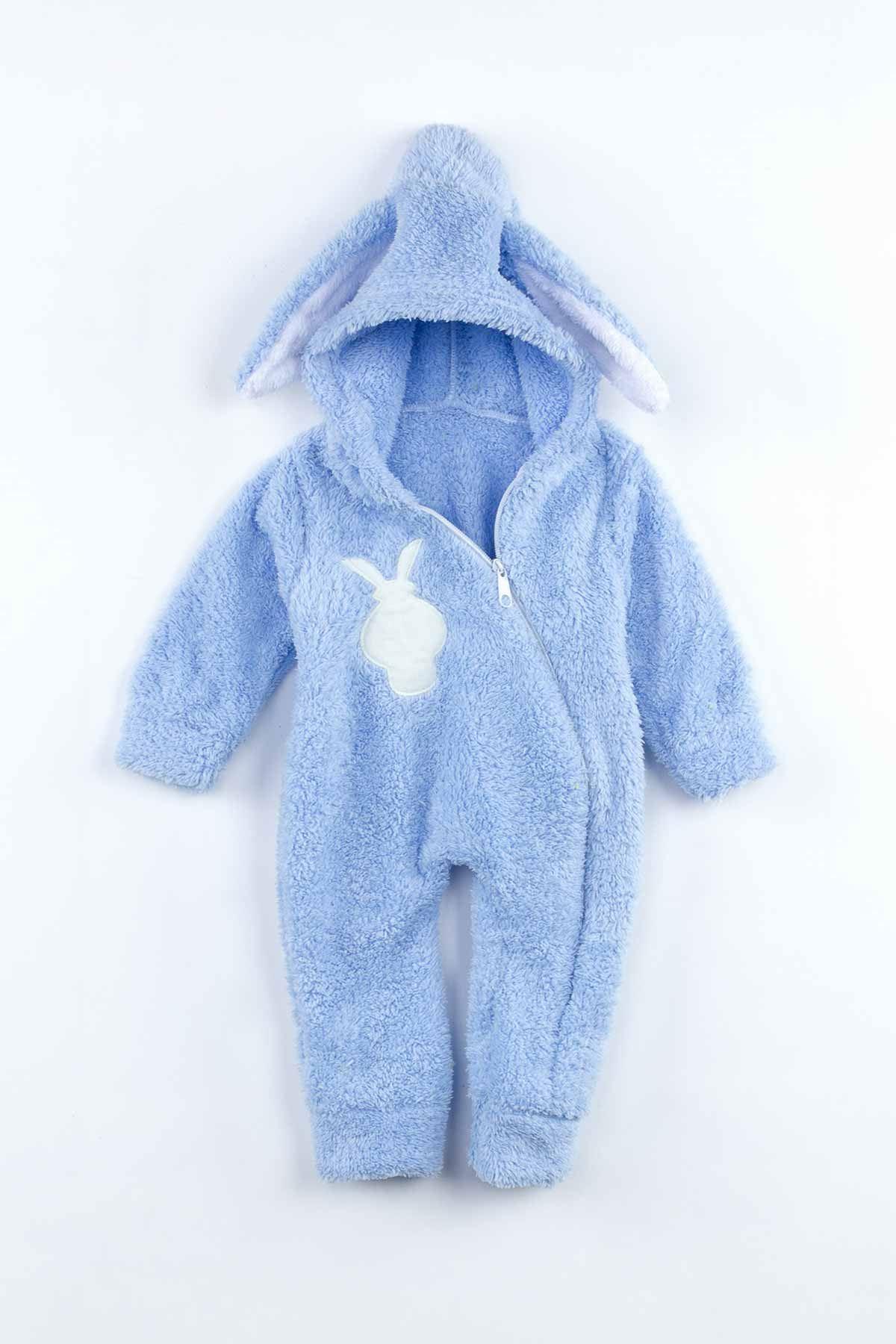 Mavi Peluş Tavşan Kulaklı Erkek Bebek Tulum