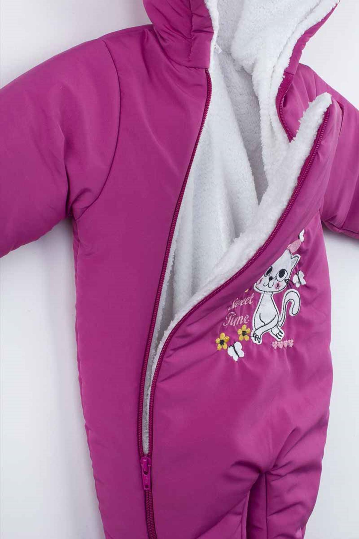 Purple Double Zipper Baby Girl Cosmonaut Jumpsuit