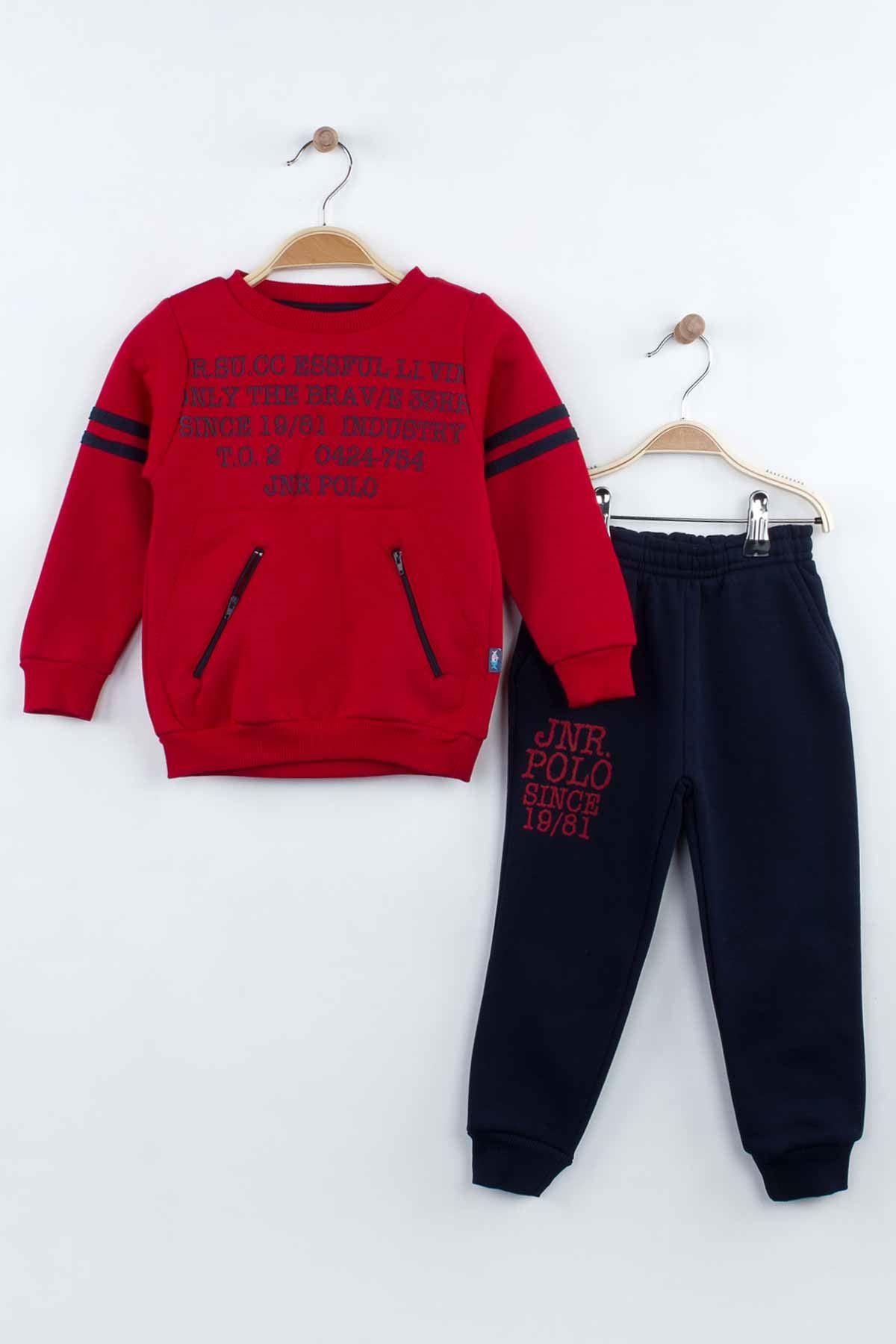 Kırmızı Kışlık Erkek Çocuk Eşofman Takım