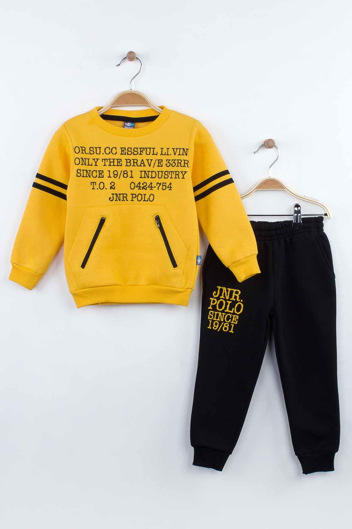 Sarı Kışlık Erkek Çocuk Eşofman Takım