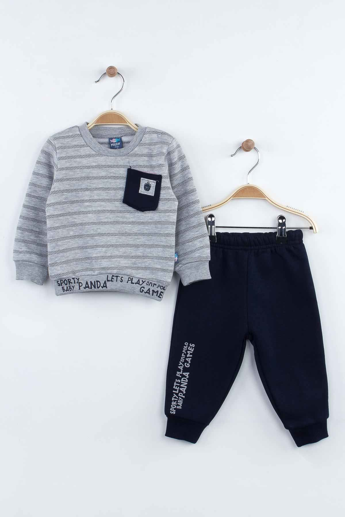 Gray baby boy 2 piece tracksuit set bottom sweatpants sweat top cotton casual casual babies models