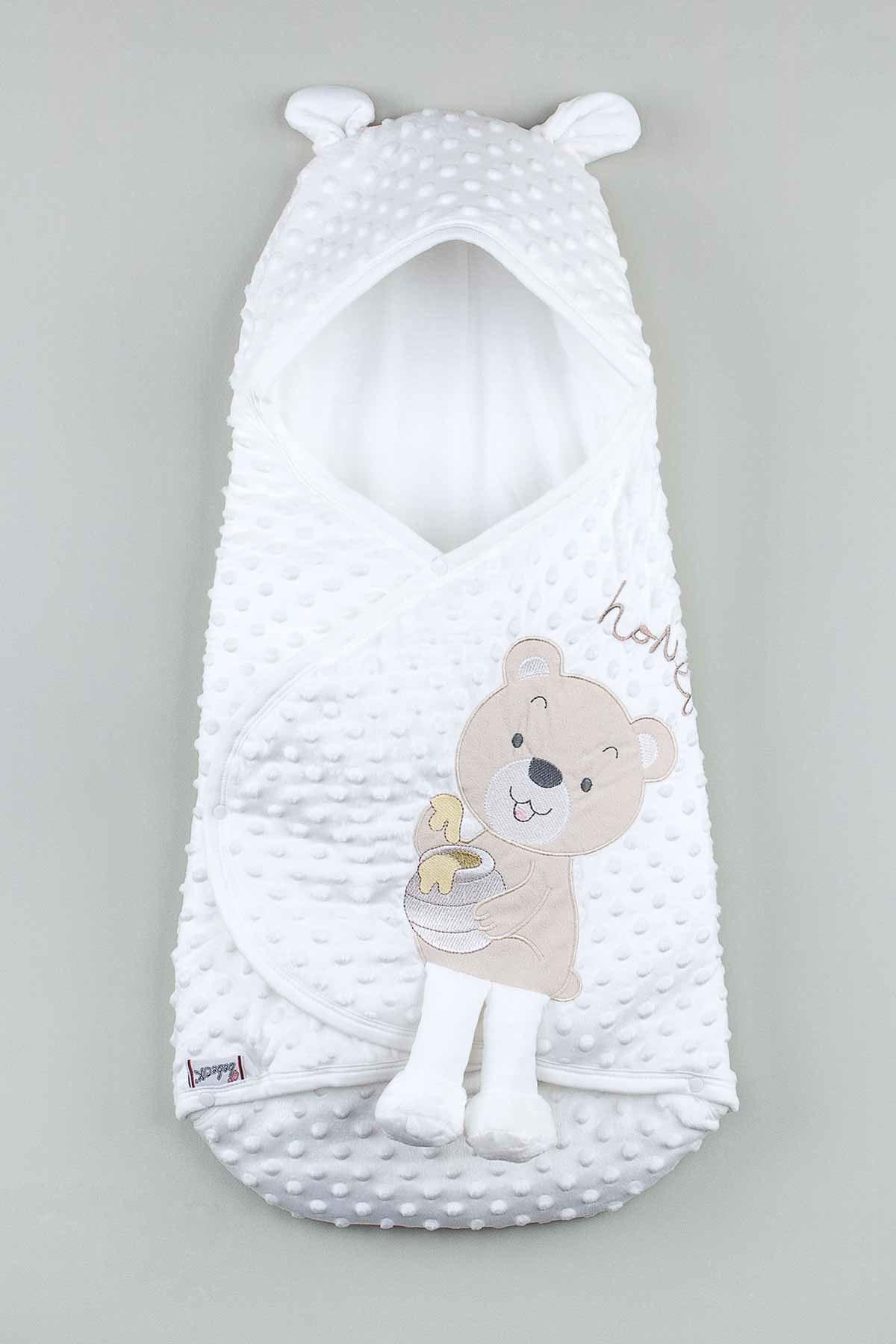 Beyaz Bebek Ayıcıklı Nohut Kundak