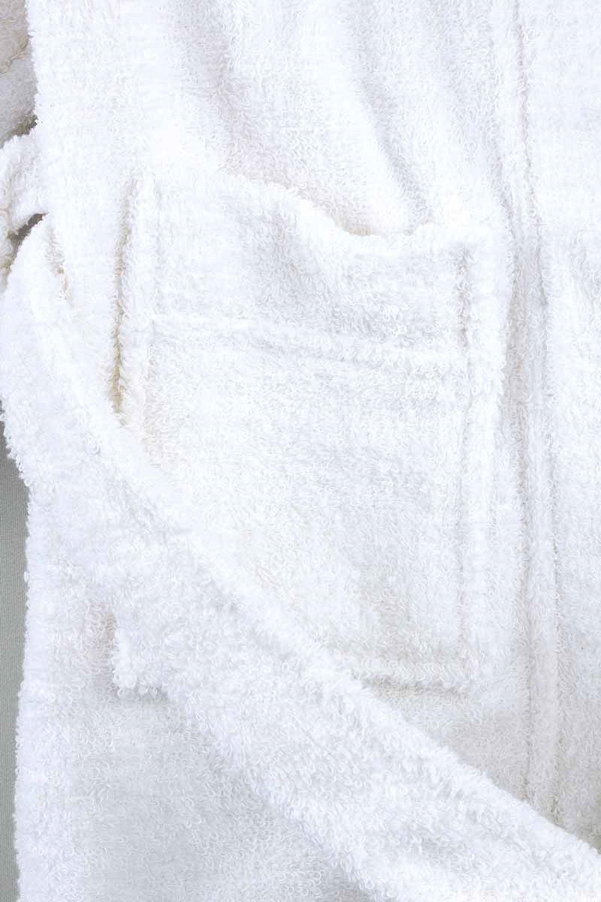 Beyaz Pamuklu Kız Çocuk Bornoz
