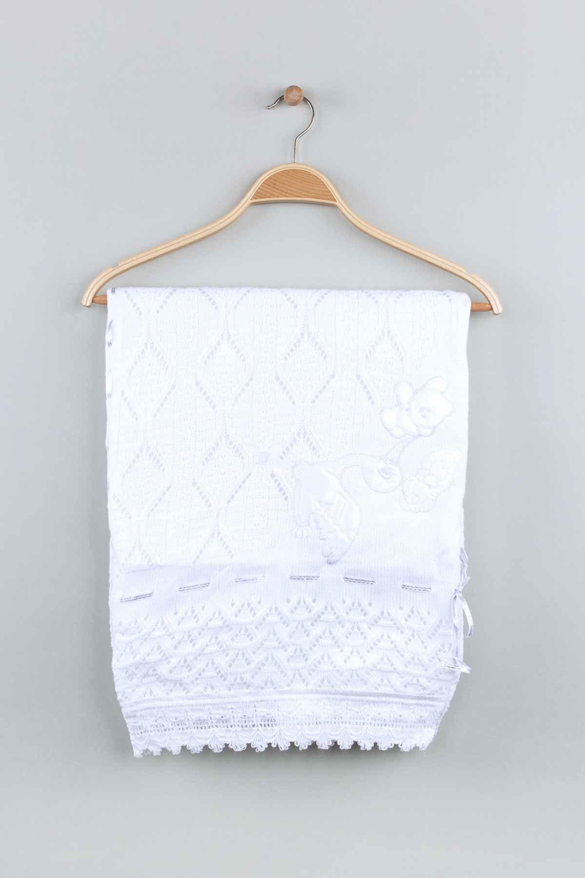 Beyaz Triko Örme 80x80 cm  Bebek Battaniye