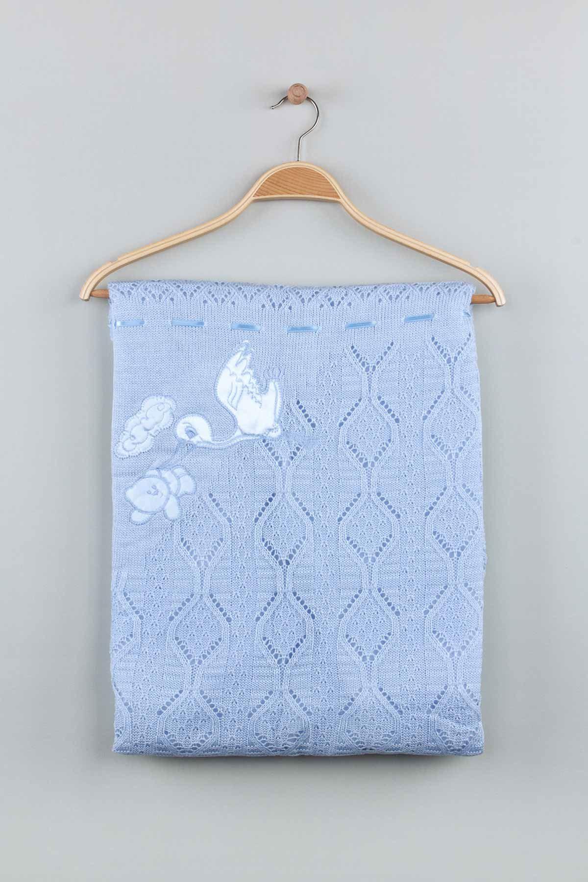 Mavi Triko Örme 80x80 cm Erkek Bebek Battaniye