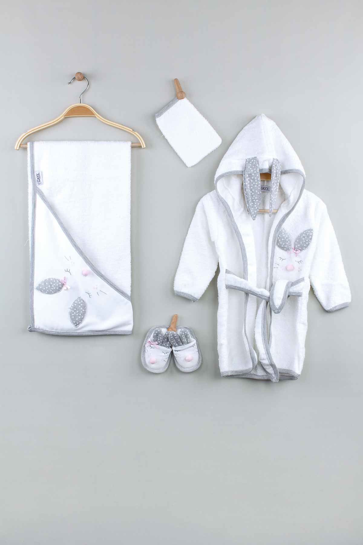 Gri  Pamuklu Kız  Bebek Bornoz Seti