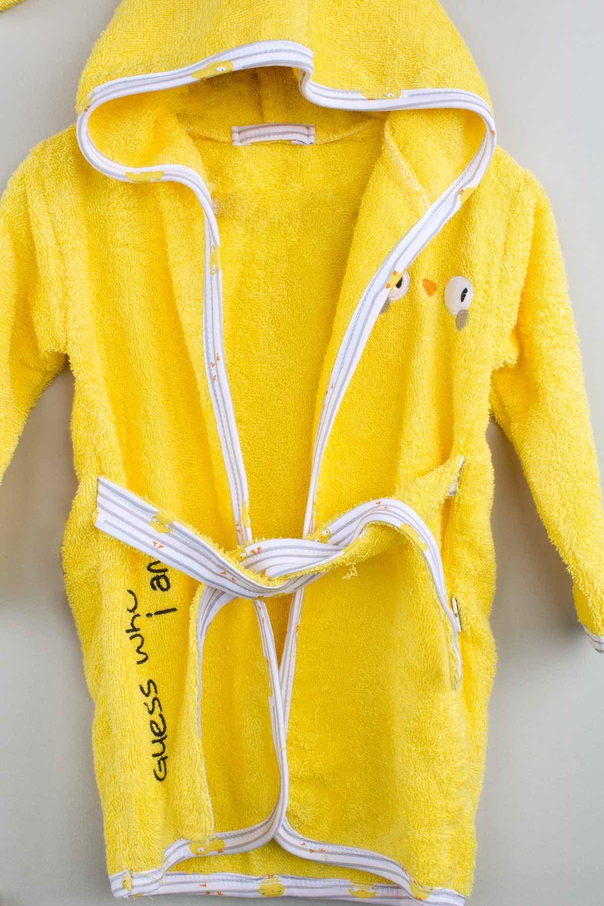 Sarı Pamuklu Erkek  Bebek Bornoz Seti