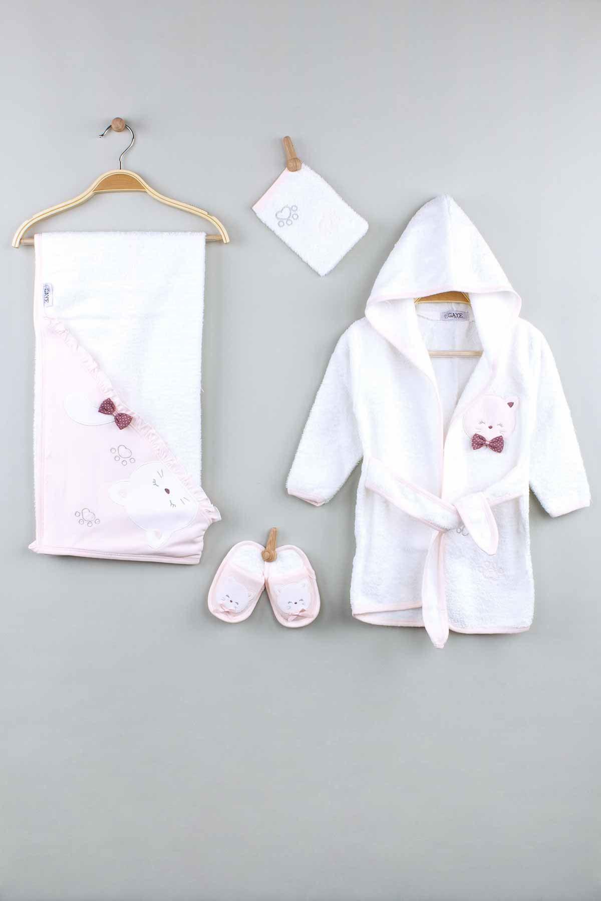Pembe Pamuklu Kız  Bebek Bornoz Seti