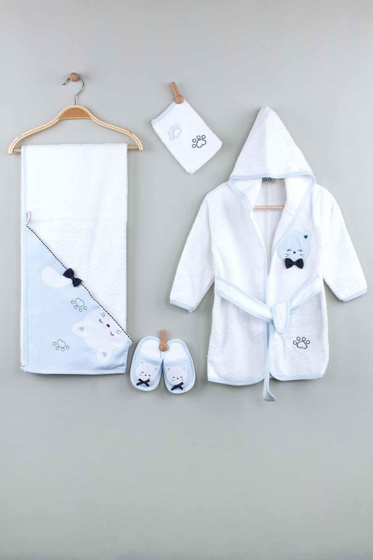 Mavi Pamuklu Erkek  Bebek Bornoz Seti