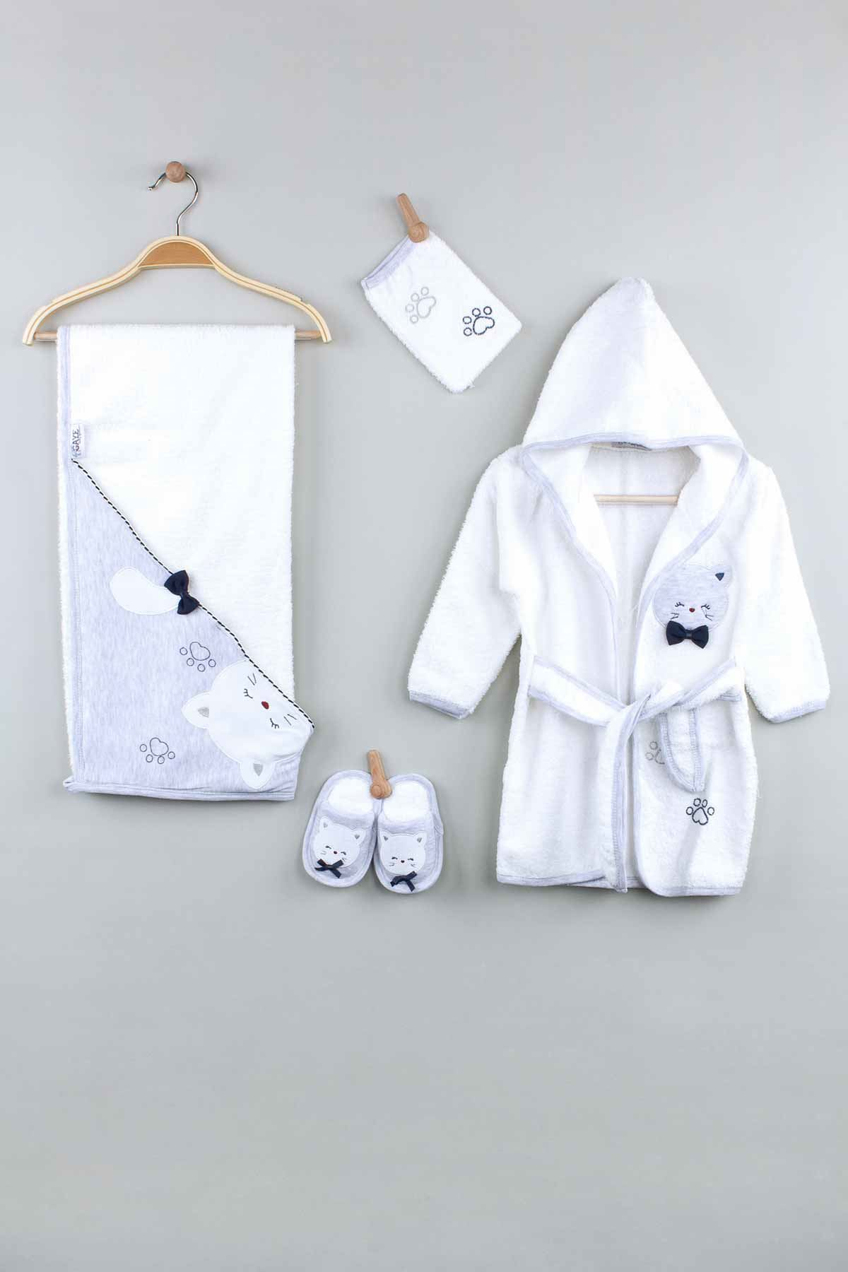 Grey Baby Boy Bathrobe Set 4-Piece Cotton Soft Drying Towel Babies Comfortable Comfortable Bath Models