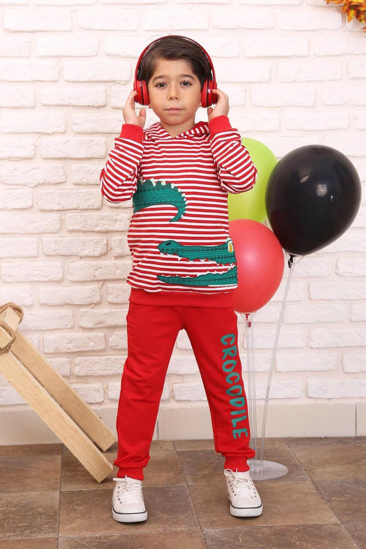 Kırmızı Mevsimlik Kapüşonlu Erkek Çocuk Eşofman Takımı