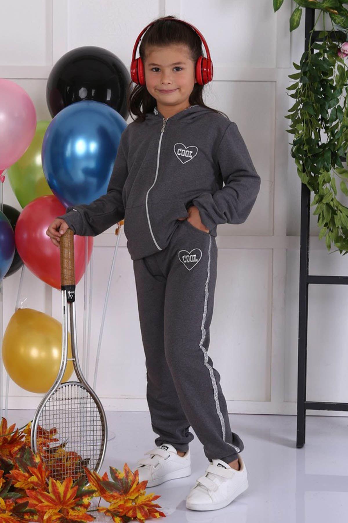 Füme Mevsimlik Kapüşonlu Kız Çocuk 2 li Takım