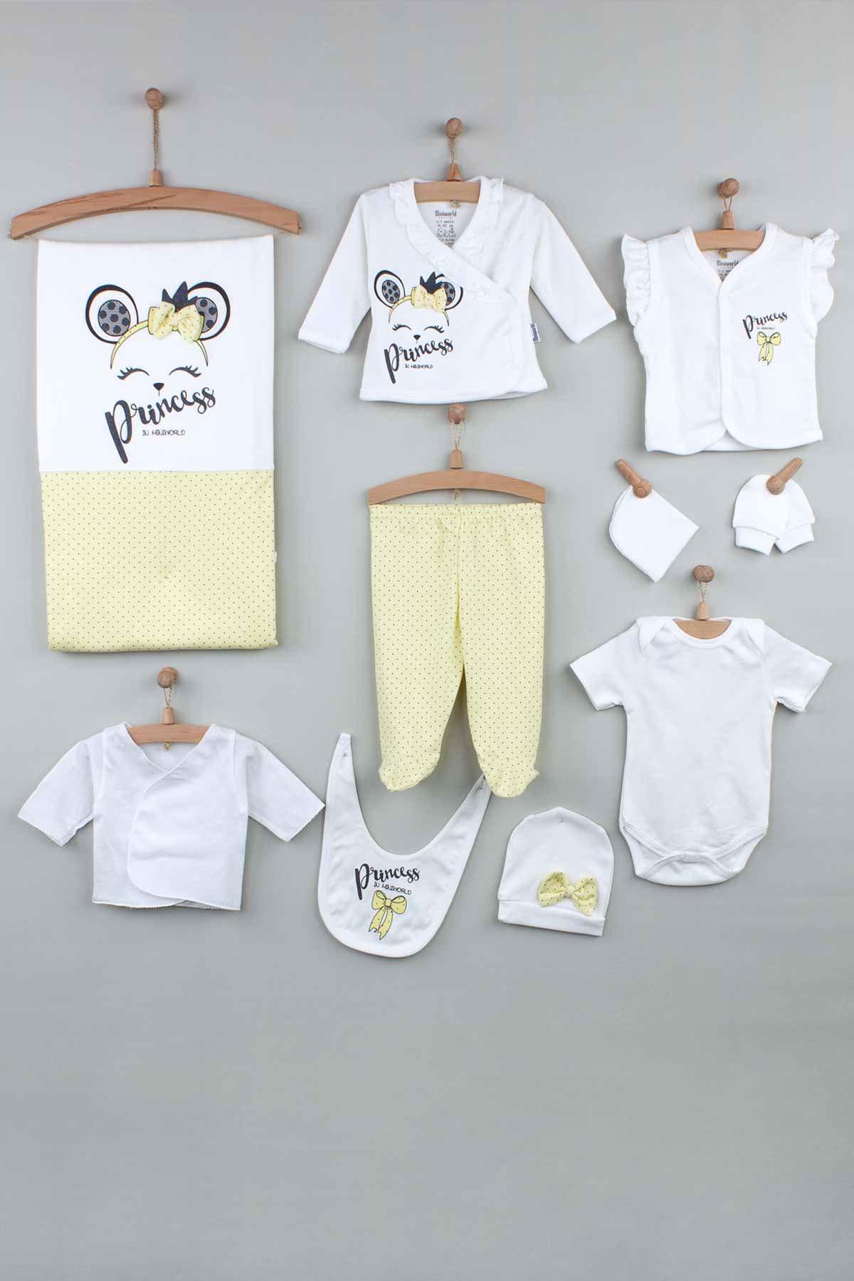 Yellow Newborn Baby Girl 10 pcs Hospital Output