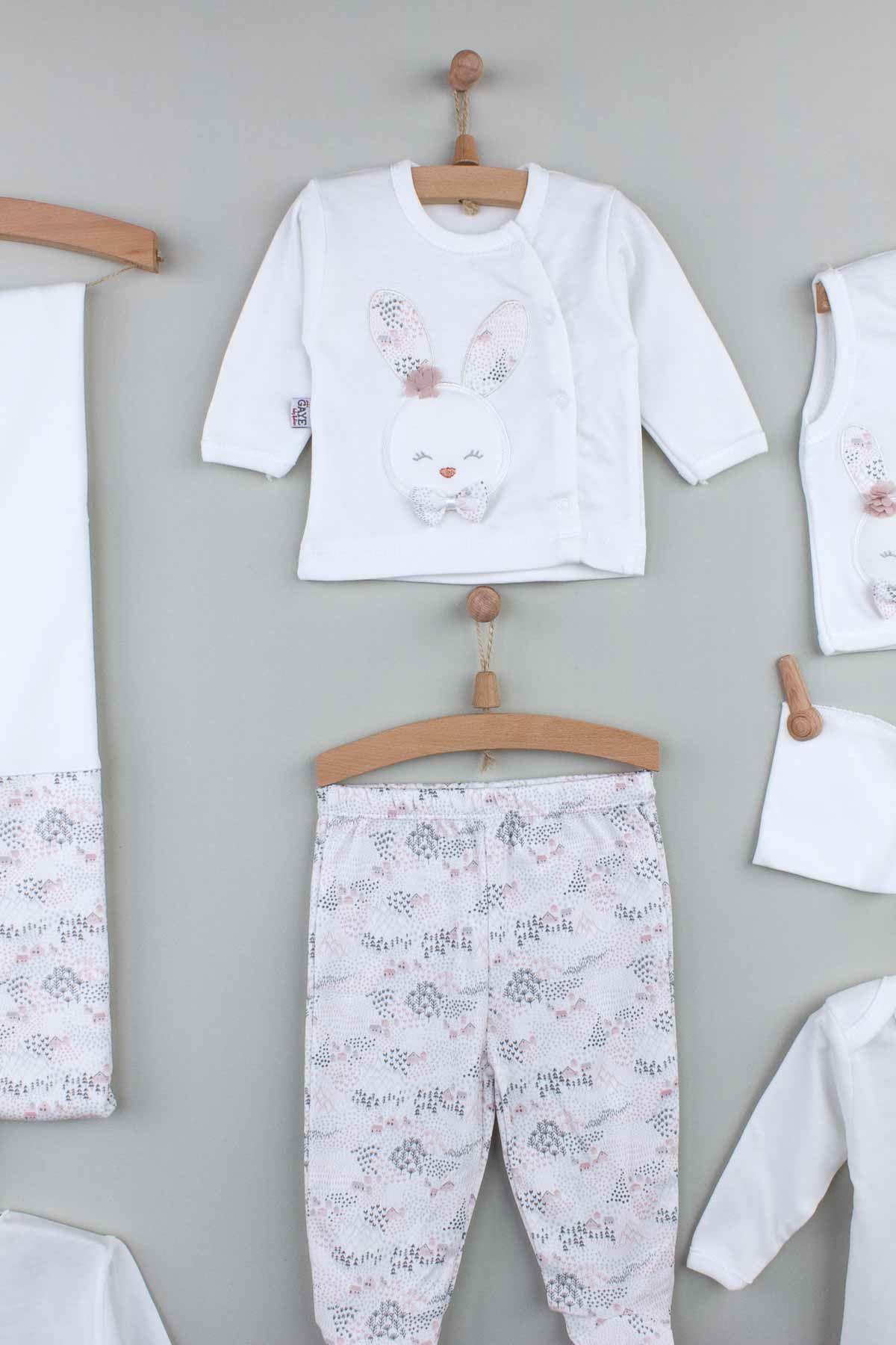 Beyaz  Yenidoğan Kız  Bebek 10 lu Zıbın Set