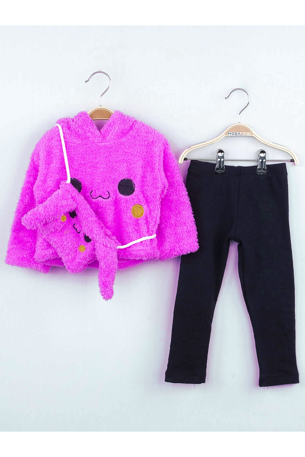 Purple Winter Plush Bag-Eared Girl Tights Suit
