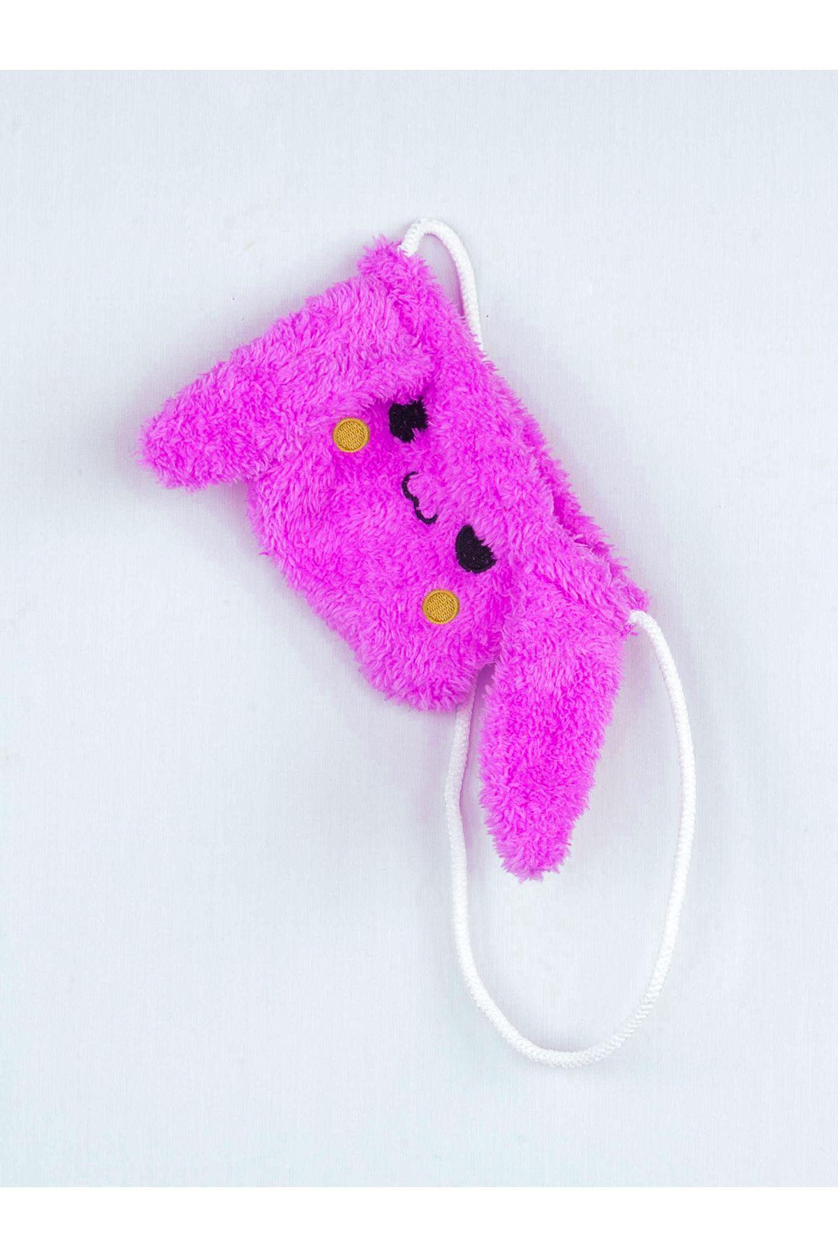 Mor Kışlık Peluş Çantalı Kulaklı Kız Çocuk Taytlı Takım