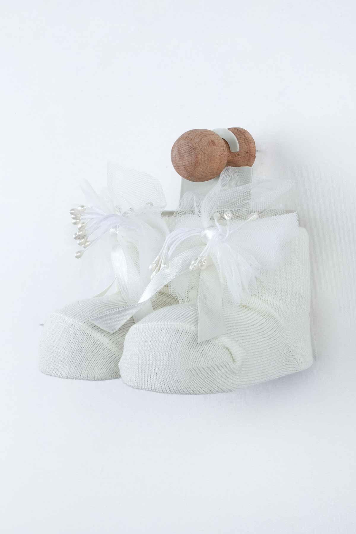 Krem Püsküllü Kız Bebek Çorap