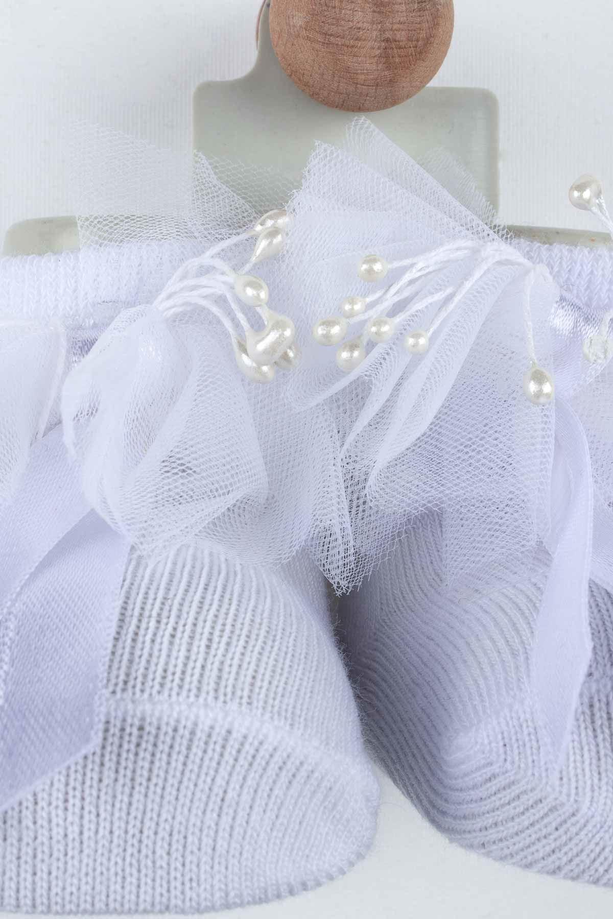 Beyaz Püsküllü Kız Bebek Çorap