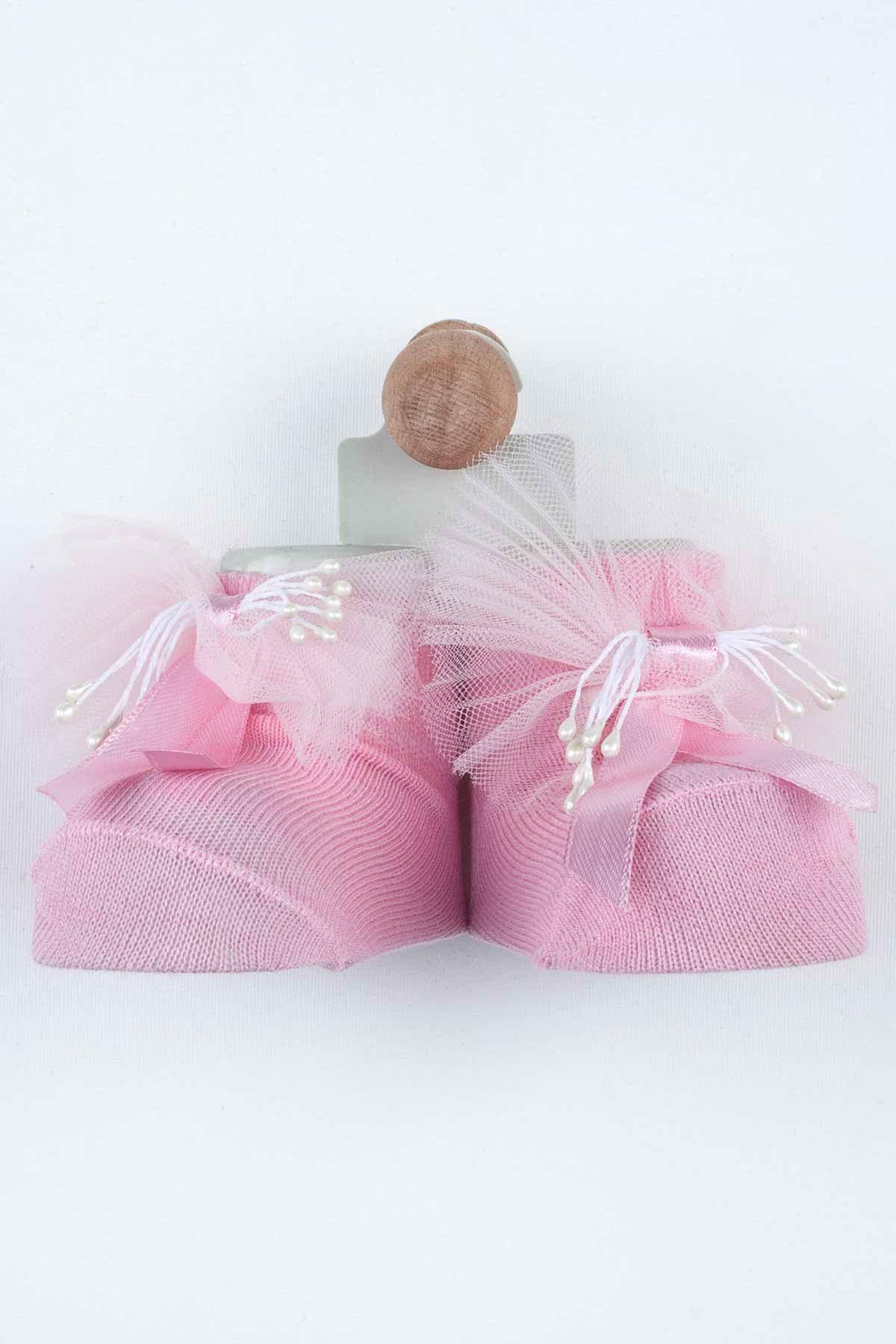 Pembe Püsküllü Kız Bebek Çorap