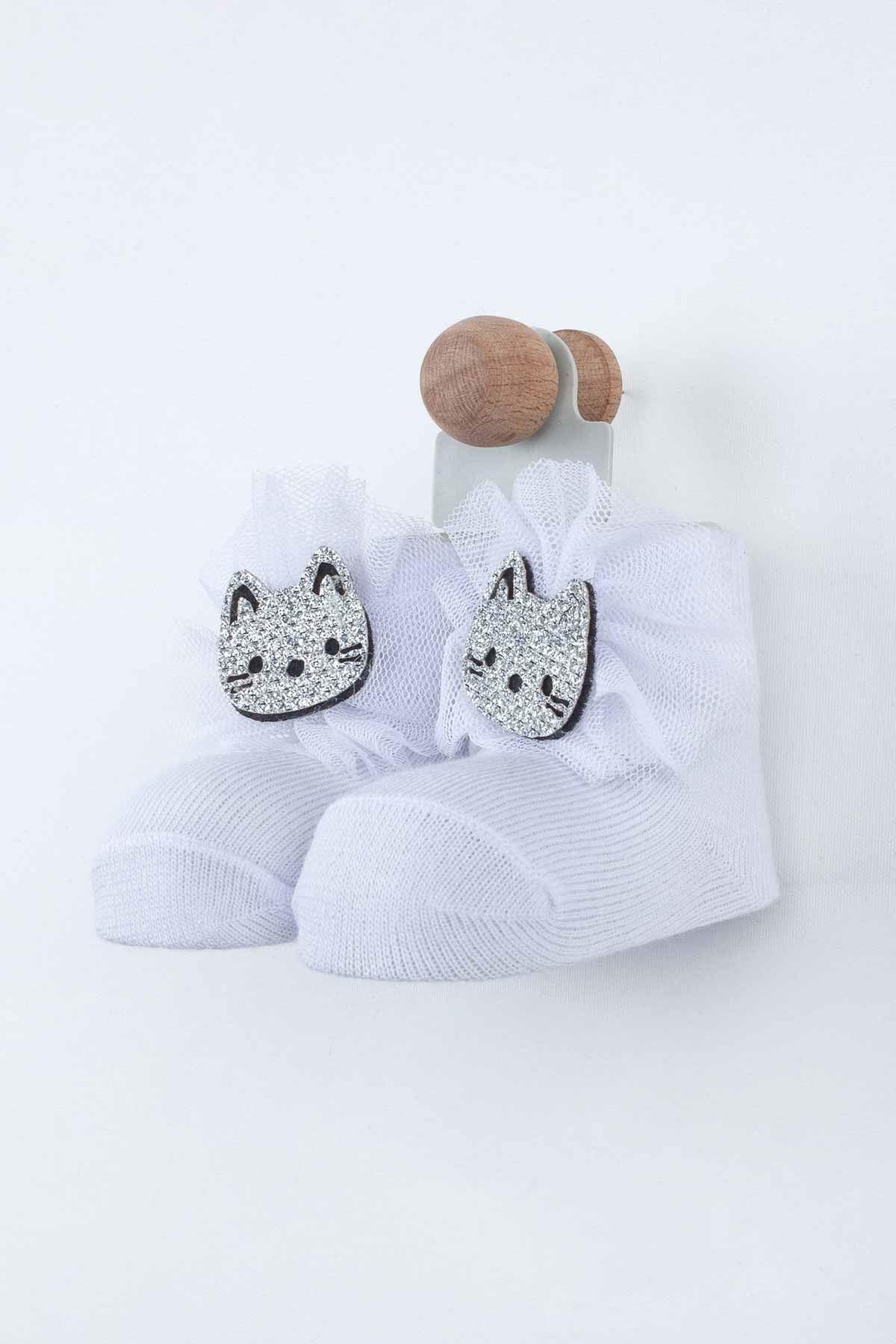 Beyaz Kedili Kız Bebek Çorap
