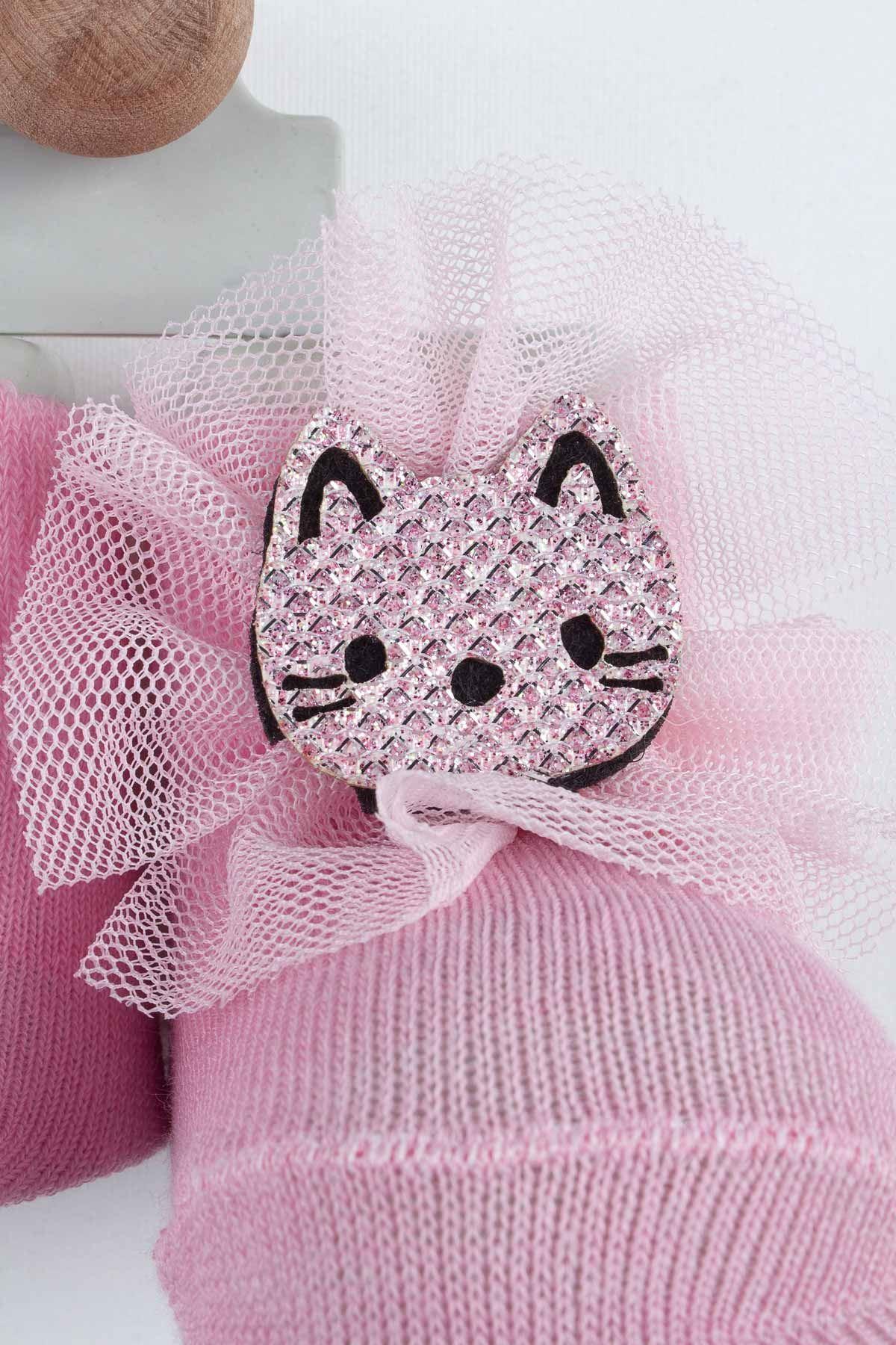 Pembe Kedili Kız Bebek Çorap