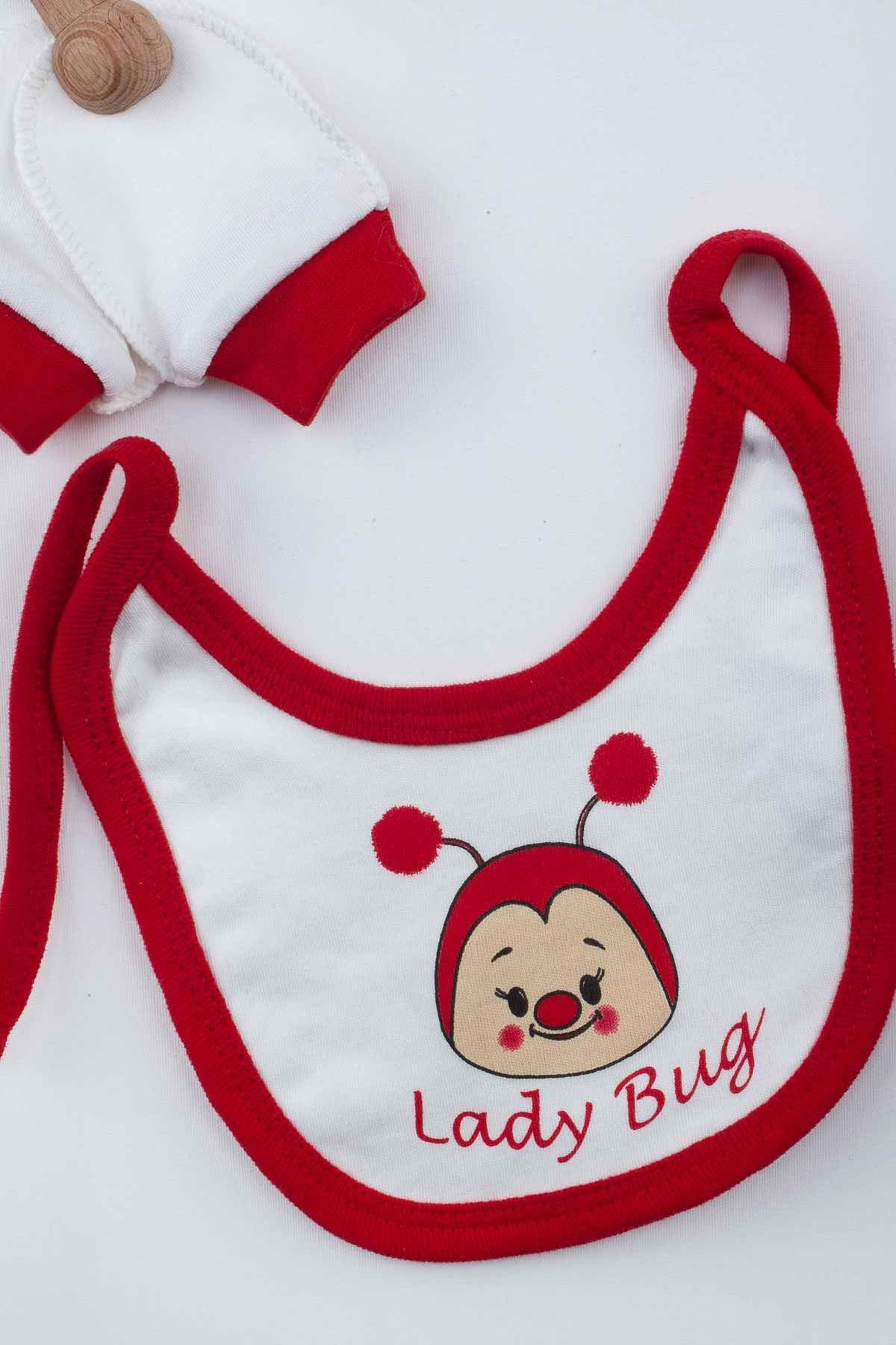 Kırmızı Kız Bebek Uğur Böcekli 5 li Zıbın Set