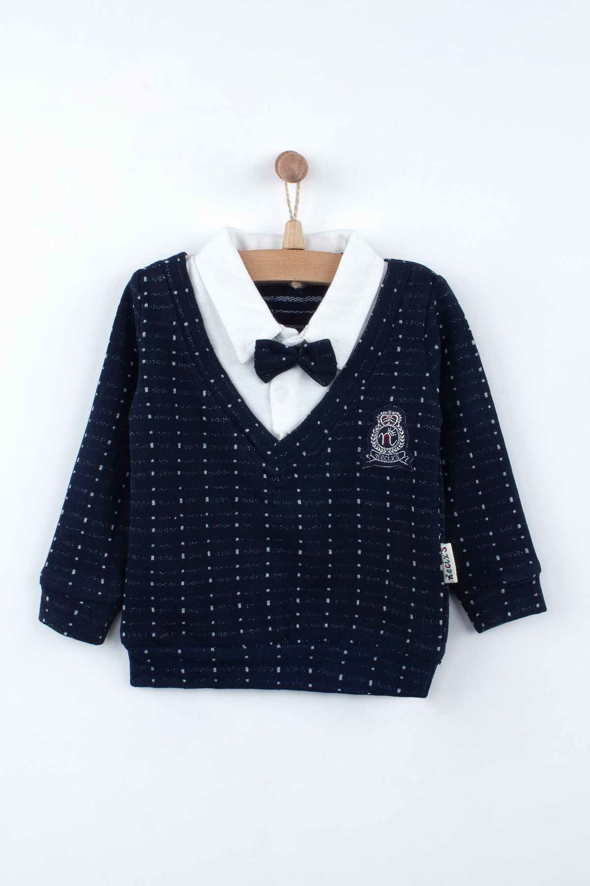 Navy Blue Baby Boys Gentleman Sweater Bottom Set 2 Piece Set Season Fashion Babies Bow Tie Cotton Casual Wear Outfit dolls Model