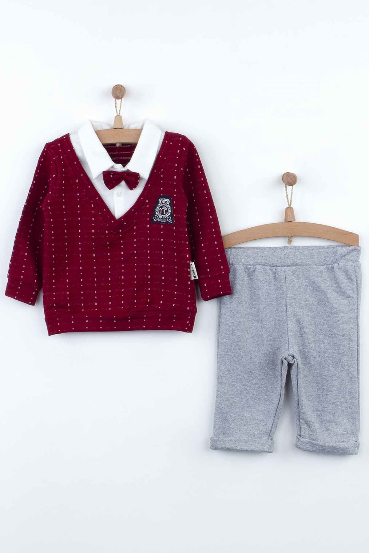 Maroon Baby Boys Gentleman Sweater Bottom Set 2 Piece Set Season Fashion Babies Bow Tie Cotton Casual Wear Outfit Dolls model