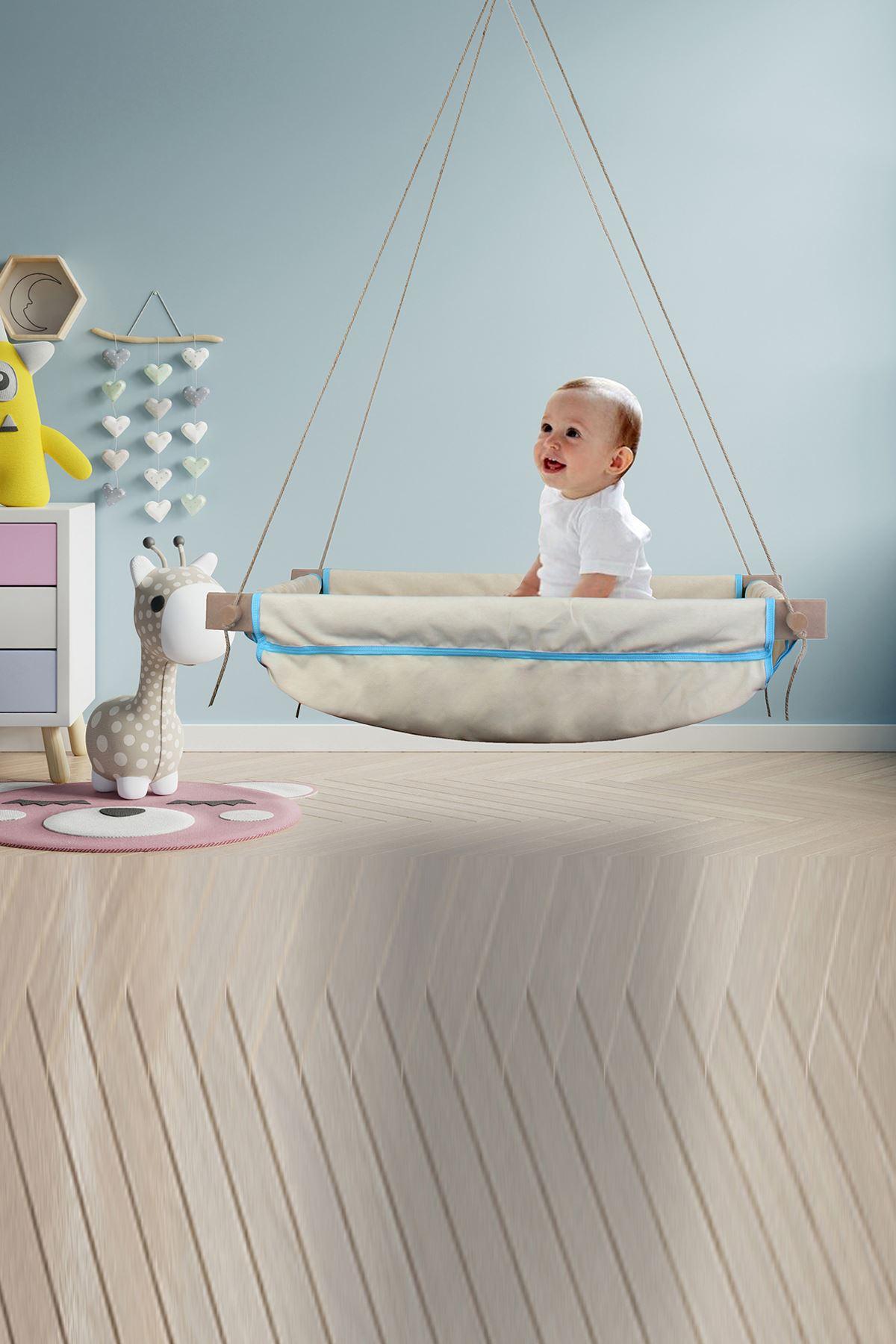 Bundera Wise Mavi Ahşap Yaylı Bebek Beşik Salıncak Hamağı