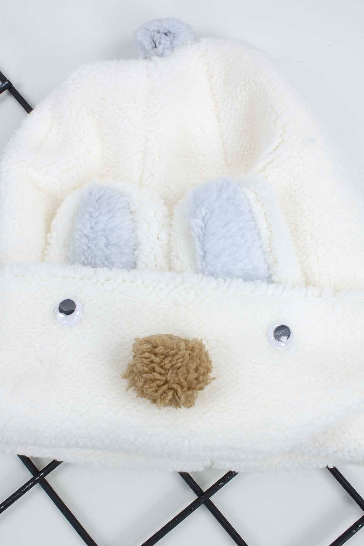 White Girl Boy Beanie Hat Plush Fabric Warm Seasonal Animal Figures Young Children's Models
