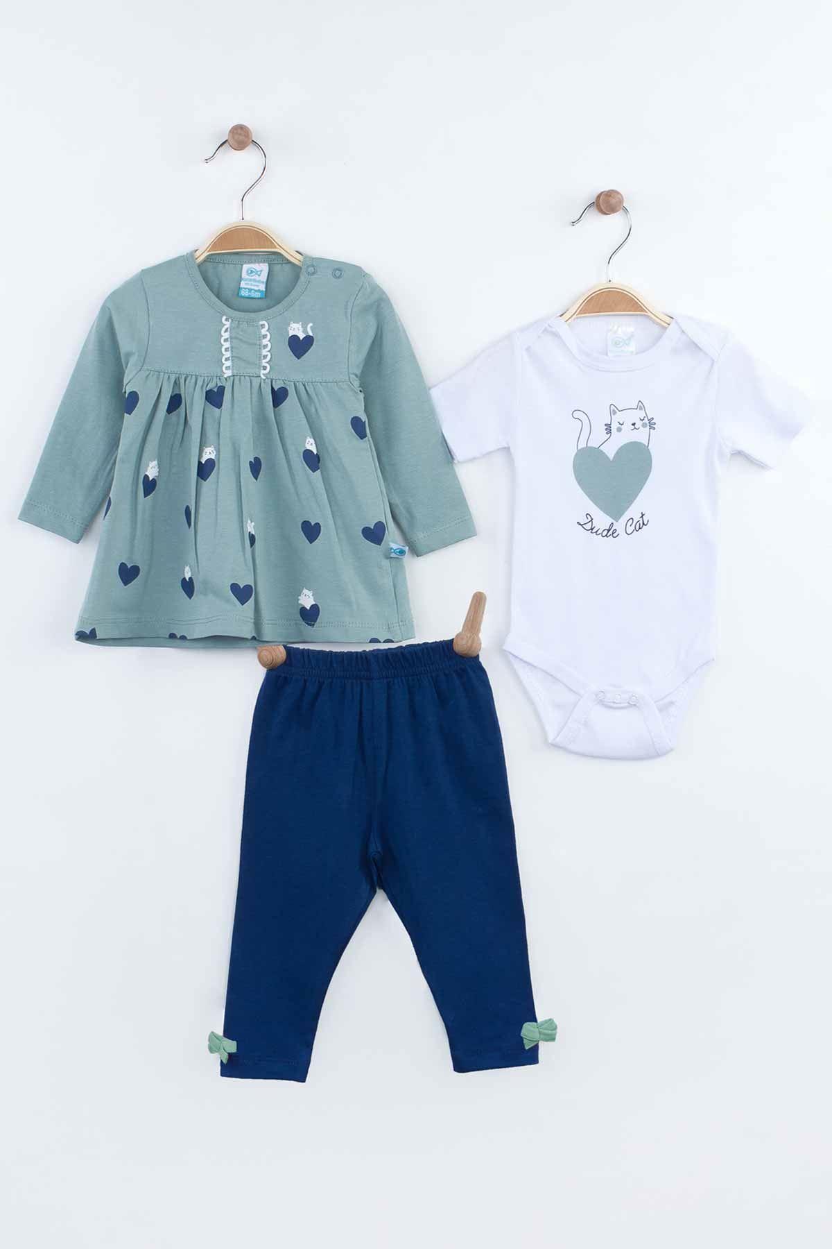 Yeşil Mevsimlik Kız Bebek Badili Takım