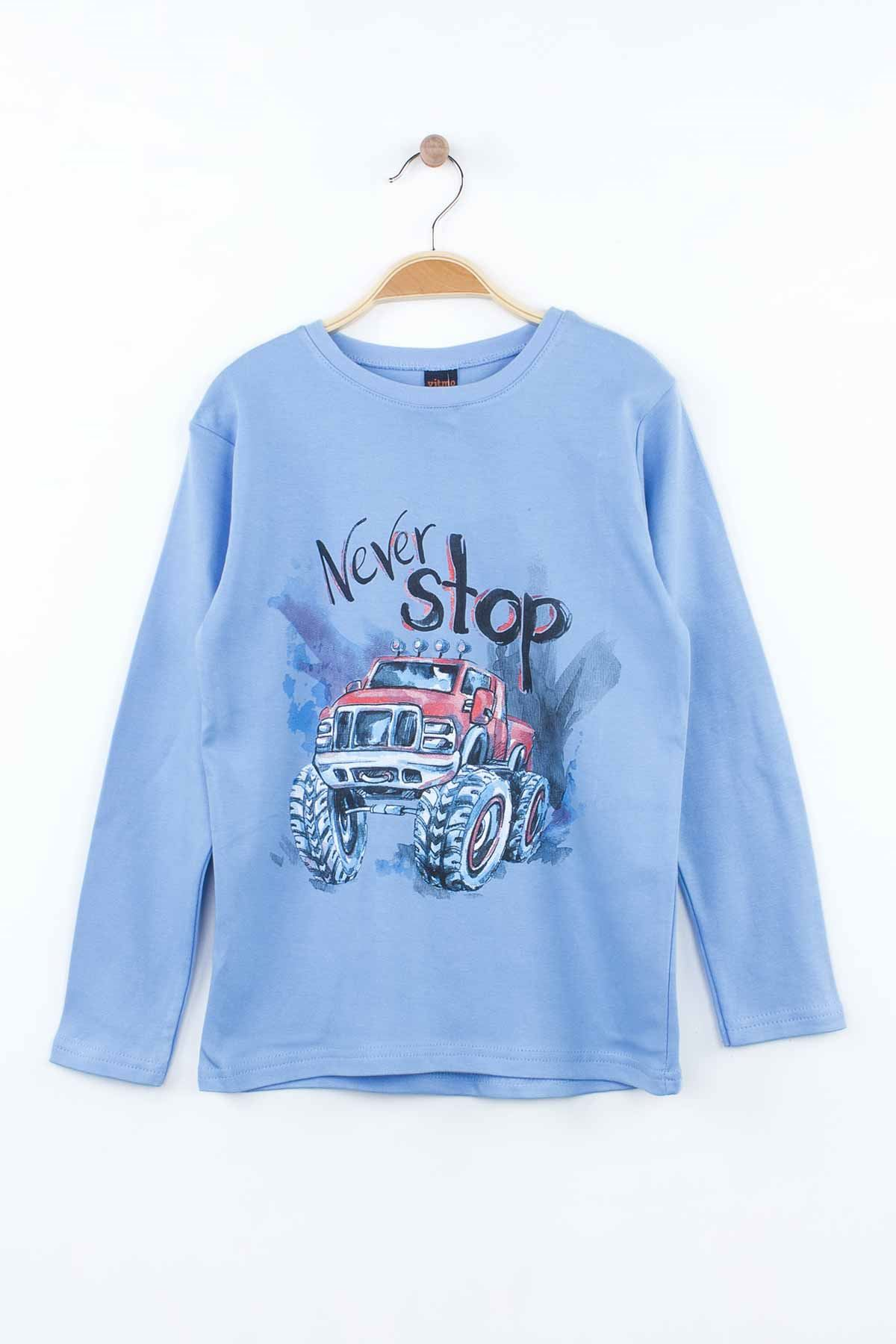 Blue Male Teenage Kids Pajama set Cottons Boys Children Daily Home Clothing Sleepwear Seasonal Printed Models