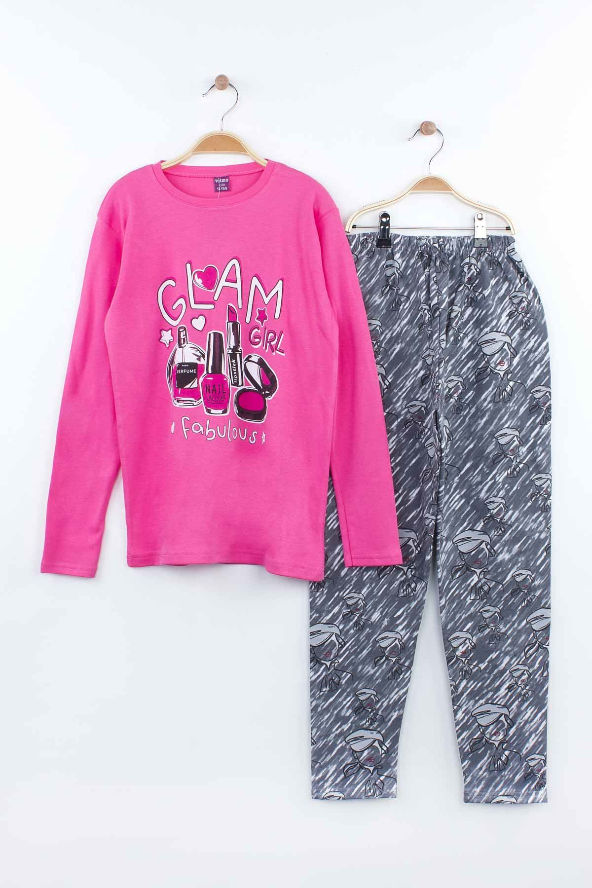 Fuchsia 7-inch for Girls Young Pajamas Set Tracksuits Home Use Cotton Fabric Comfortable Clothes 2 Piece Girl Set Models