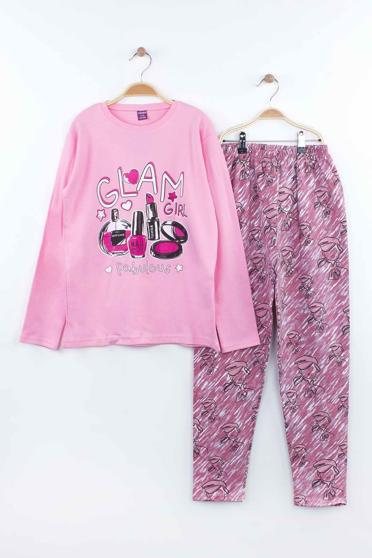 Pink Girls Young Pajamas Set Tracksuits Home Use Cotton Fabric Comfortable Clothes 2 Piece Girl Set Models