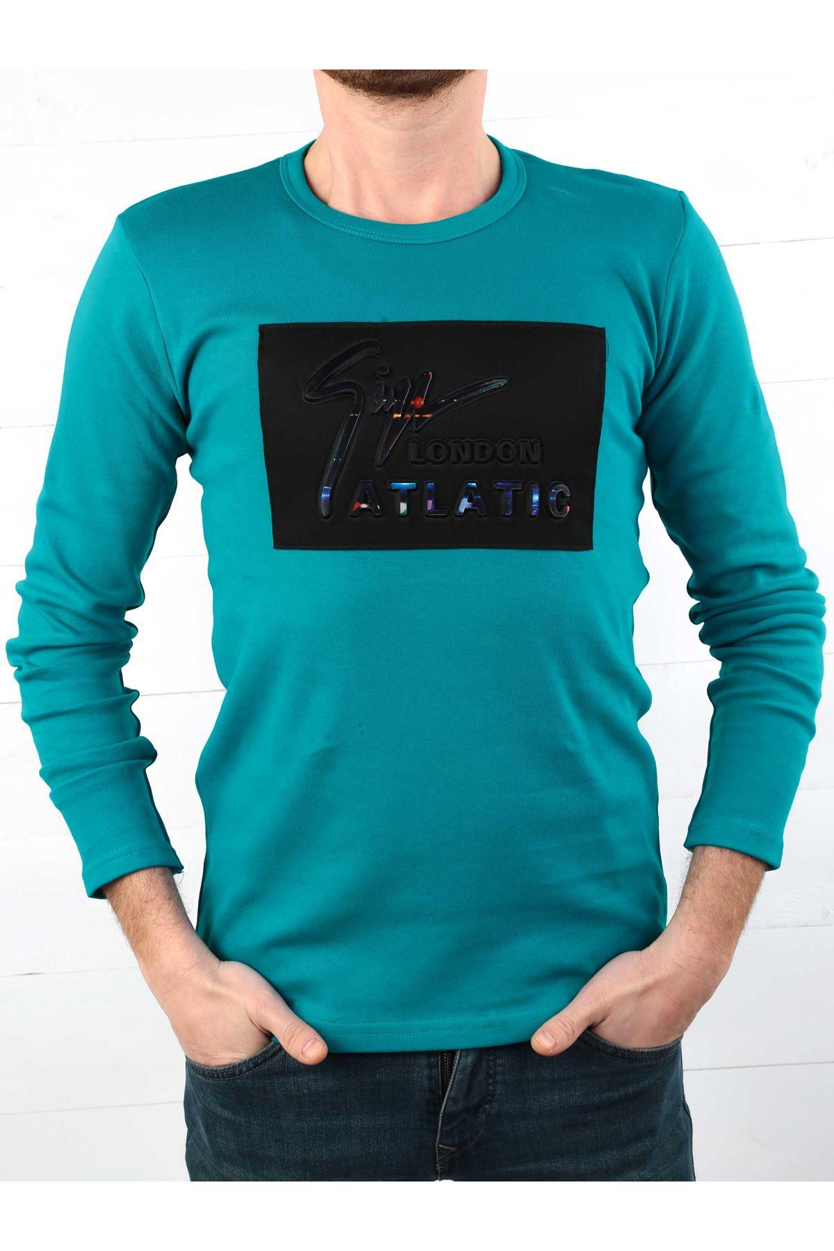 Petrol Yeşili İnterlok Erkek Sweatshirt