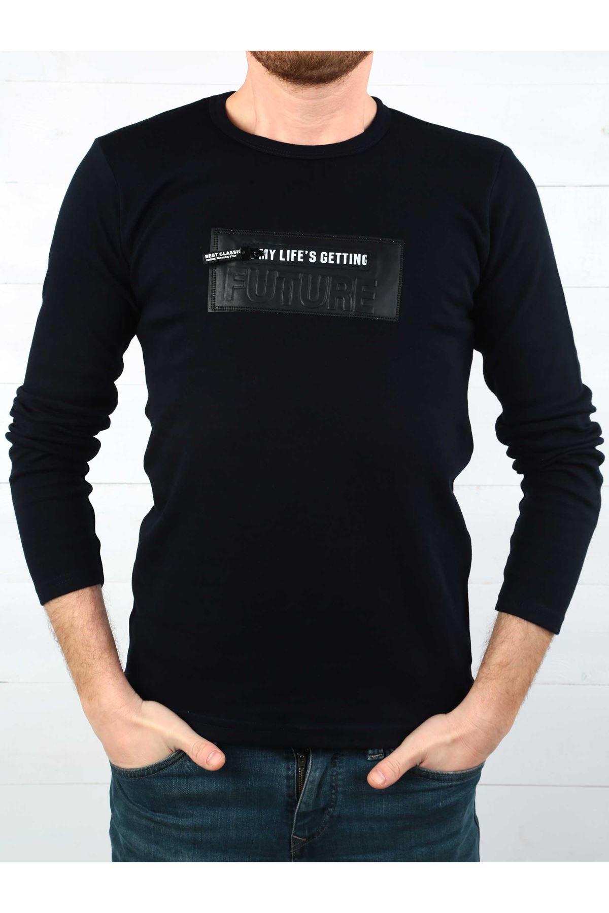 Koyu Lacivert İnterlok Erkek Sweatshirt