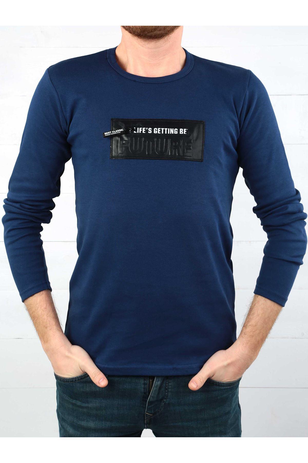 İndigo İnterlok Erkek Sweatshirt