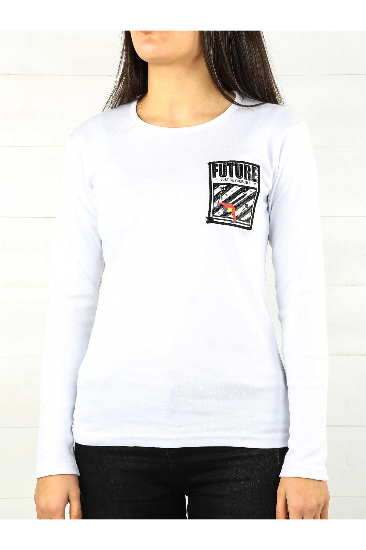 Beyaz İnterlok Kadın Sweatshirt
