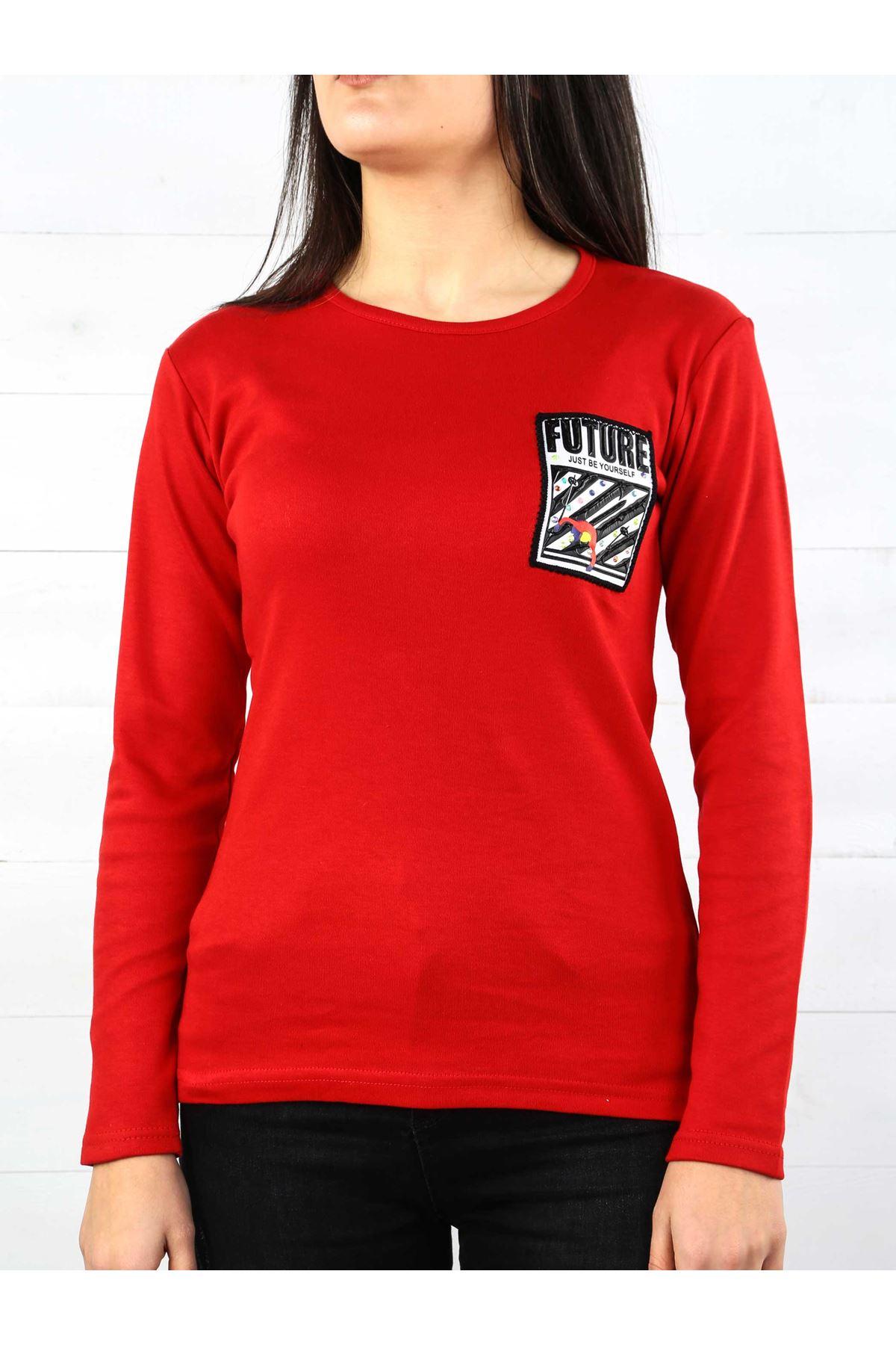 Kırmızı İnterlok Kadın Sweatshirt