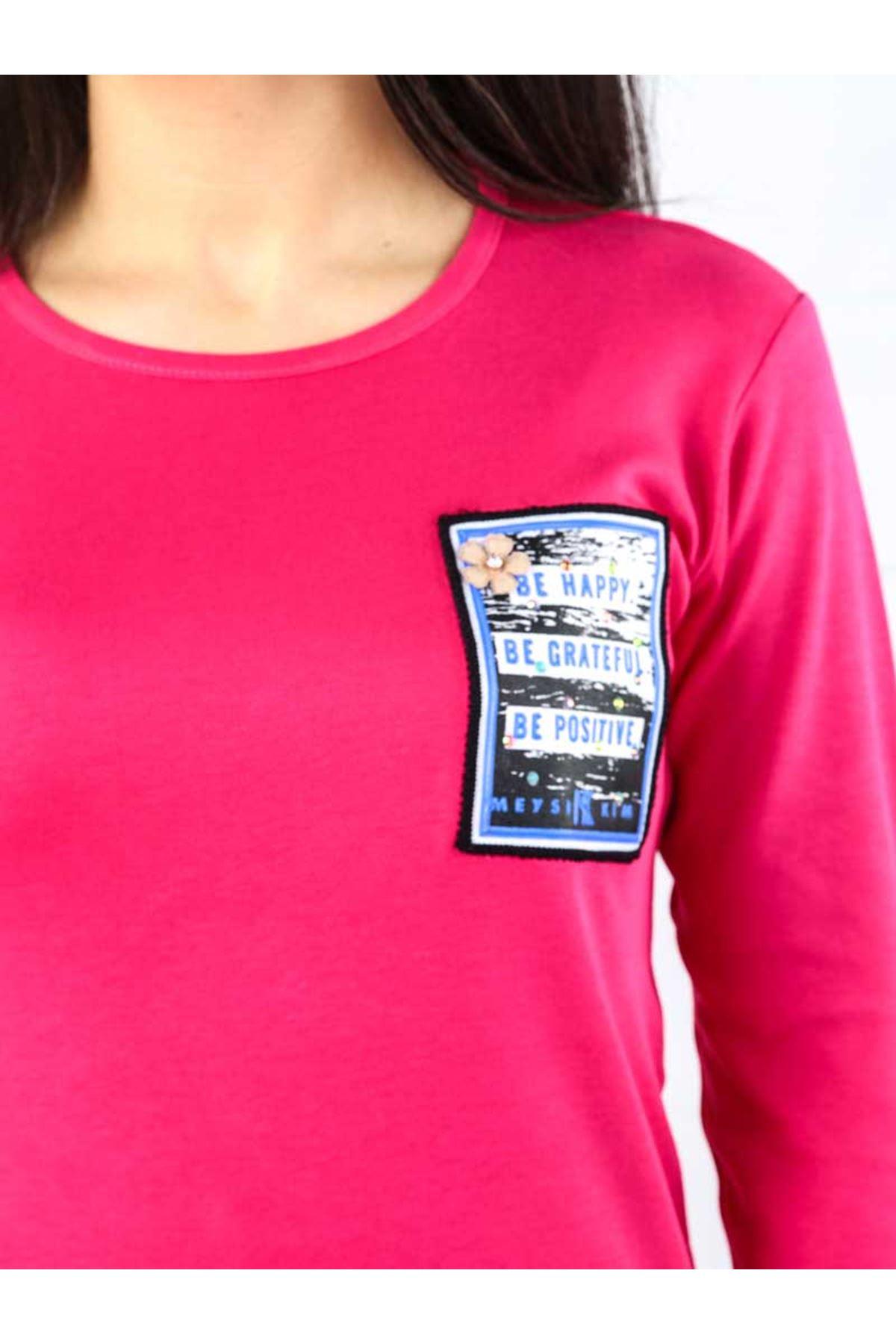 Fuşya İnterlok Kadın Sweatshirt