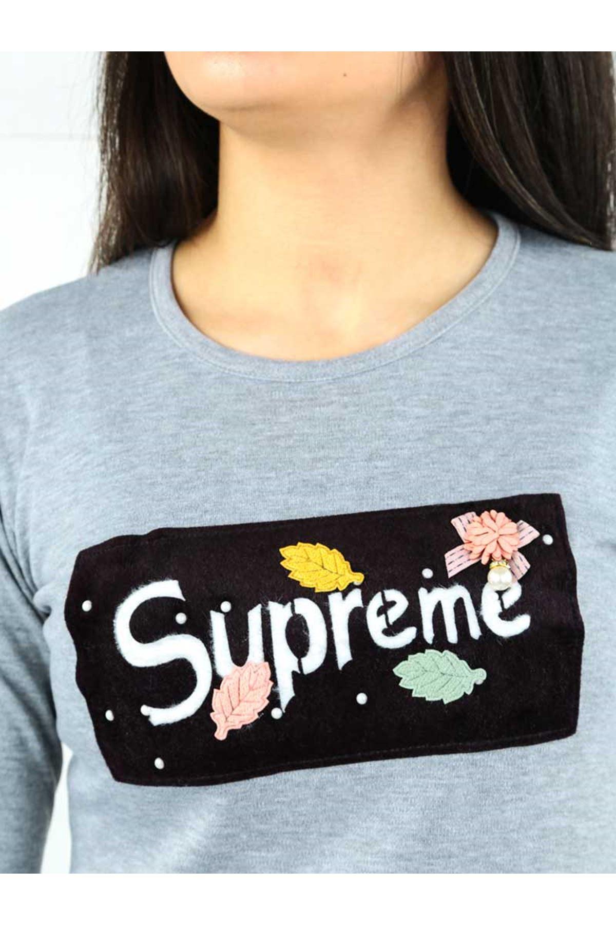 Gri İnterlok Kadın Sweatshirt